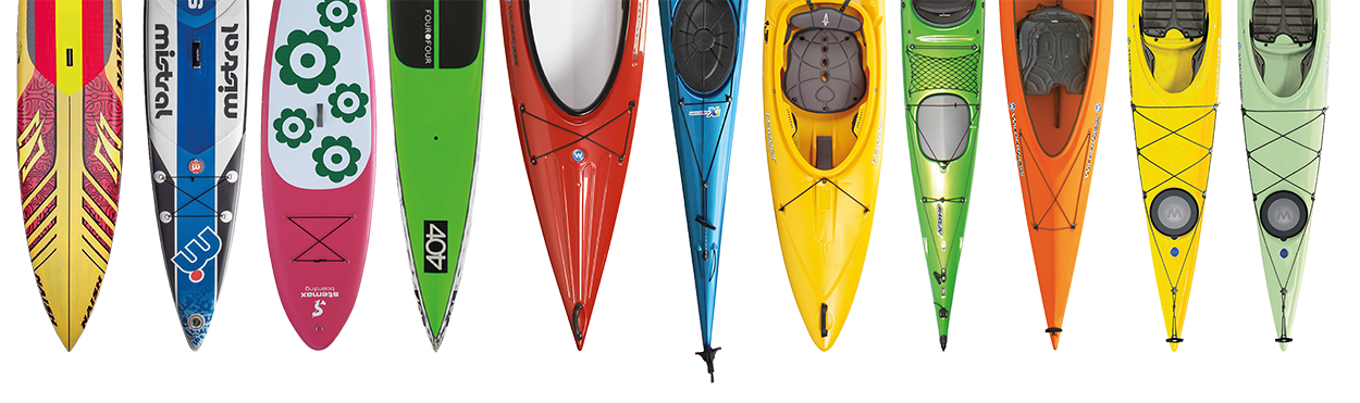 Viele verschiedene, bunte Kajaks, Kanus und SUP Boards in grafischer Darstellung